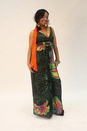 Fleurs Green & Black Maxi Dress
