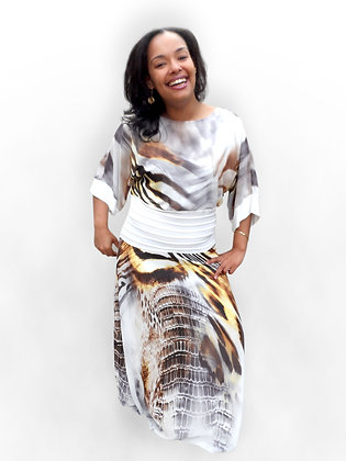 'Saskia' Digital Print Dress