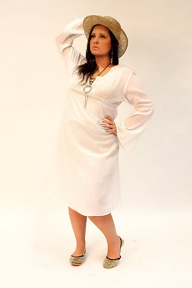 Cotton Beach Dress / Kaftan in White or Black