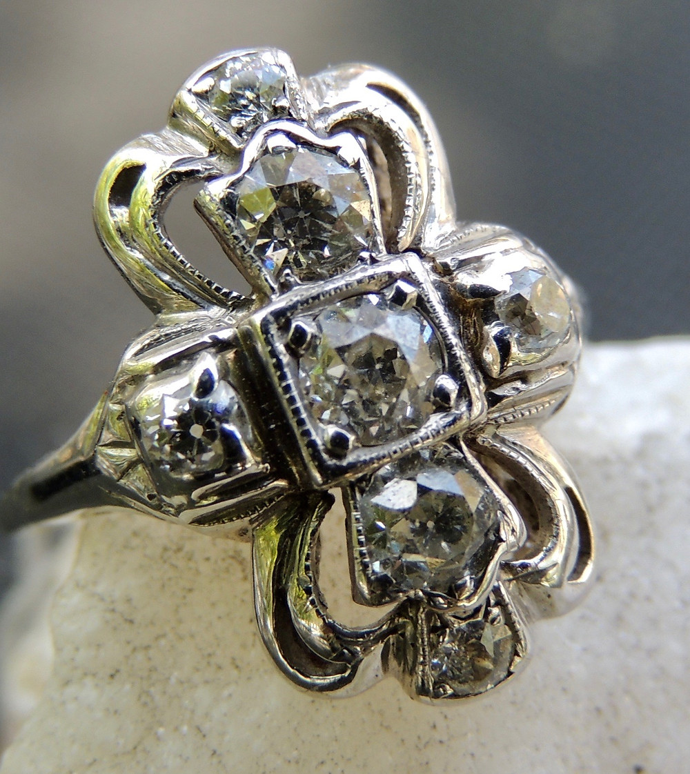 Platinum and Diamond Vintage Ring