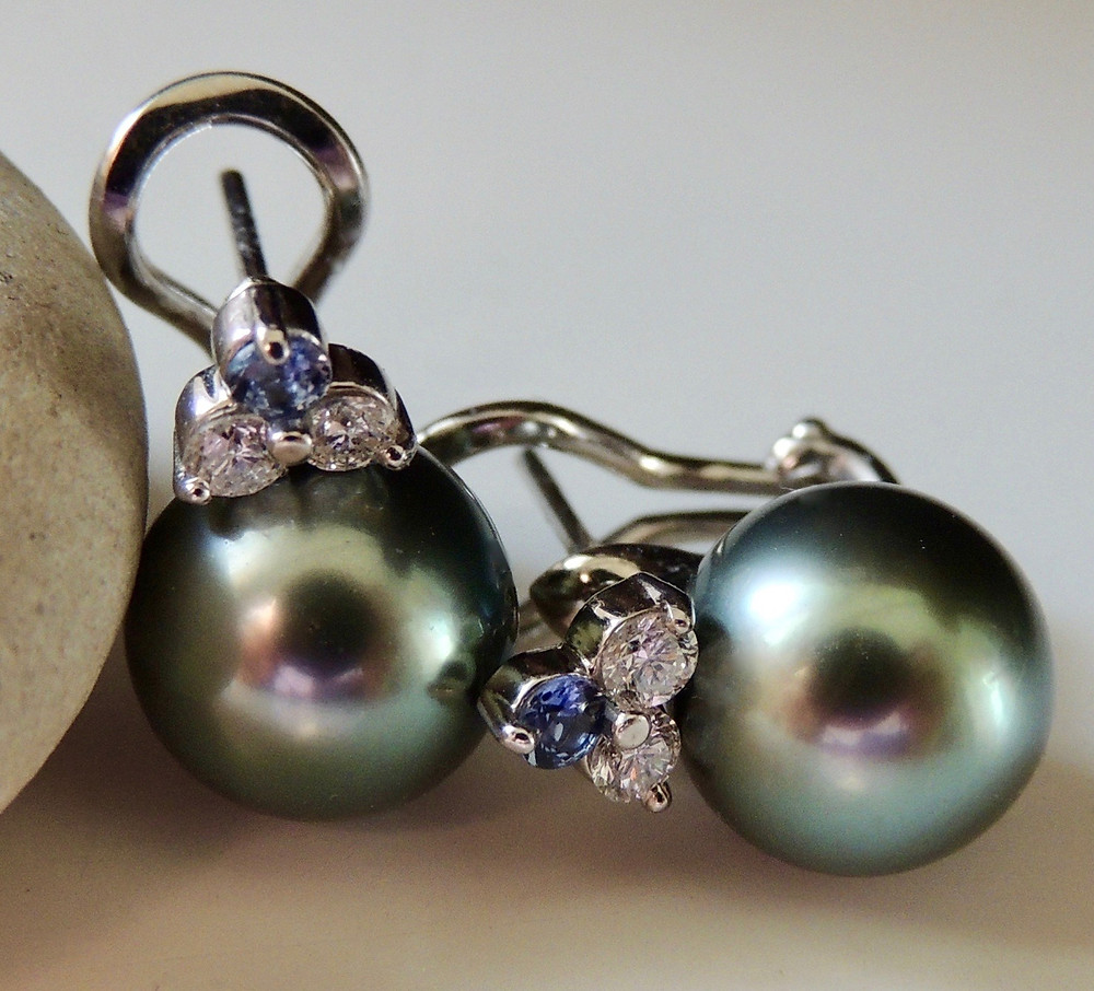 Tahitian Pearl, Yogo Sapphire and Diamond Drop Earrings