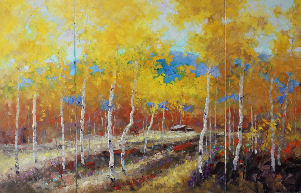 Bridger Canyon Triptych 40x62, oil by Troy Collins