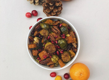 .Brussel Sprouts and Butternut Squash with Pomegranate and Pecans.