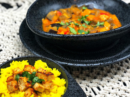 .Vegetable Coconut Curry with Turmeric Rice.