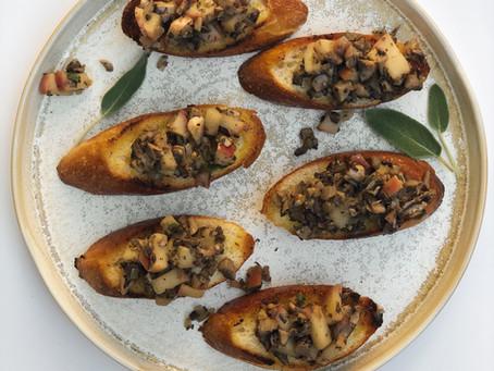 .Mushroom and Apple Crostini.