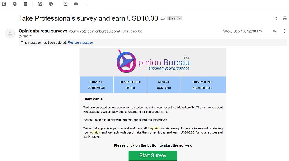 Opinion Bureau Survey Reward