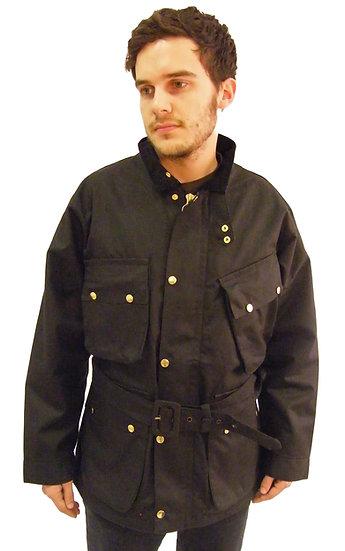 Black Wax Belted Motorcycle Jacket Coat