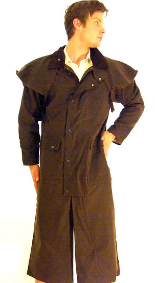 English Long Stockman Wax Riding Jacket Coat