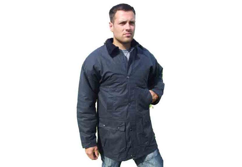 Blue British Padded Wax Cotton Jacket