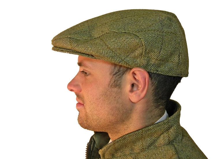 Tweed Flat Cap Green Quality Wool Country Teflon Coated