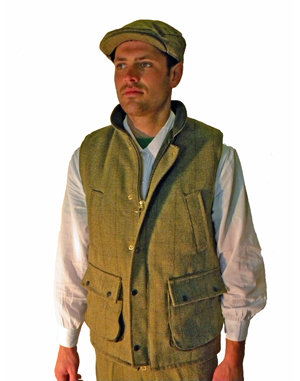 Mens Tweed Waistcoat Green Country Classic Derby