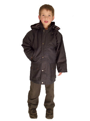 Childs Wax Cotton Padded Casual School Jacket Coat