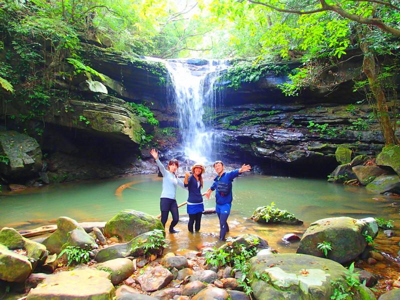 西表ツアーおすすめ女子旅行・卒業旅行人気のSUPでマングローブを漕いでジャングル探検トレッキングで秘境の滝巡り、午後からトレッキングで秘境の滝を目指します。大自然のエナジーを体感しよう。石垣島から日帰り参加もOK!です。
