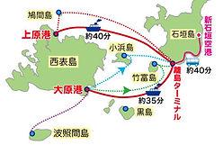 西表島へのアクセス。西表島には空港はありません。八重山諸島の主島である石垣島に飛行機で渡り、各離島への船便が出ている離島ターミナルへ移動し、そこから高速船もしくはフェリーで移動します。 注意しなければならないのは、石垣島と西表島を結ぶ航路が二つあることです。 二つの港は約35km離れており、車で約50分かかります。観光の時間や目的地によってどちらの港にするか、事前に計画をたてておきましょう。