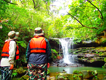 島旅で秘境の滝へ。