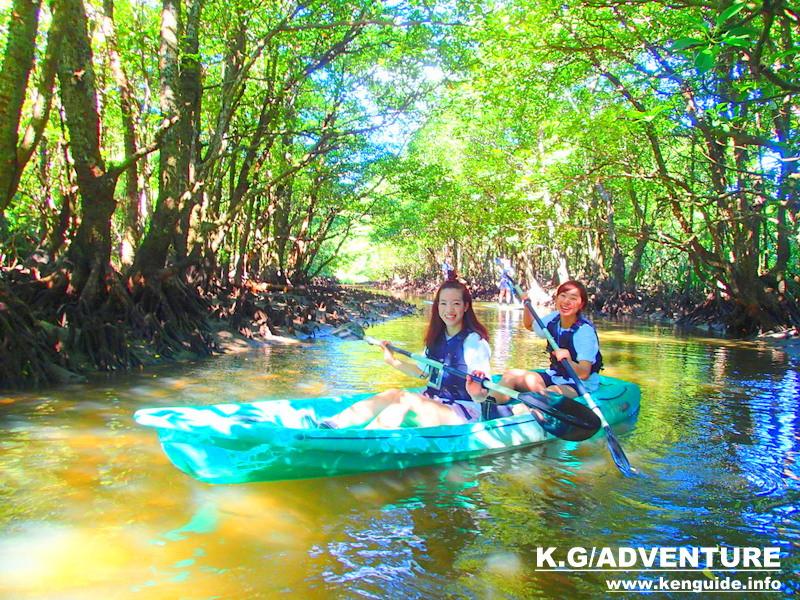 西表ツアーおすすめ女子旅行、西表島人気のカヌーでマングローブを漕いでジャングル探検トレッキングで秘境の滝巡り、午後からケイビングで神秘の鍾乳洞探検。大自然のエナジーを体感しよう。石垣島から日帰り参加もOK!です。