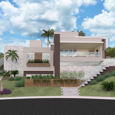 Casa terreno em aclive