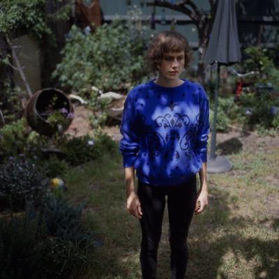 Nicola in Rhona's backyard