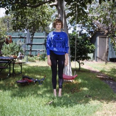 Nicola in front of swing