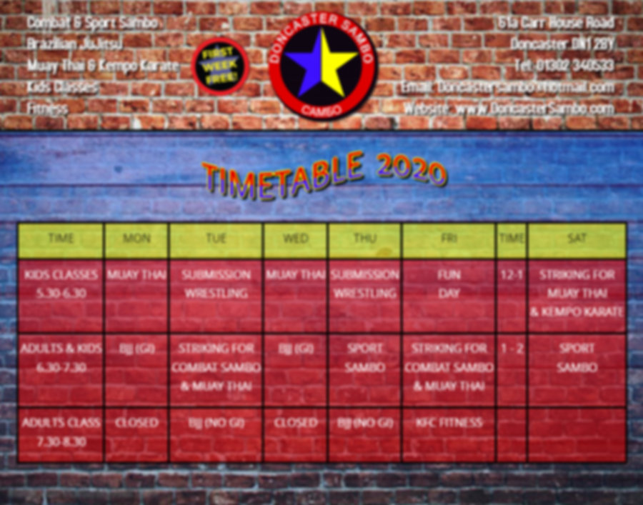 Timetable 2020 - Made with PosterMyWall