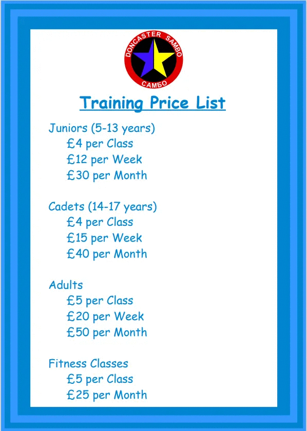 Doncaster Sambo Training Price List