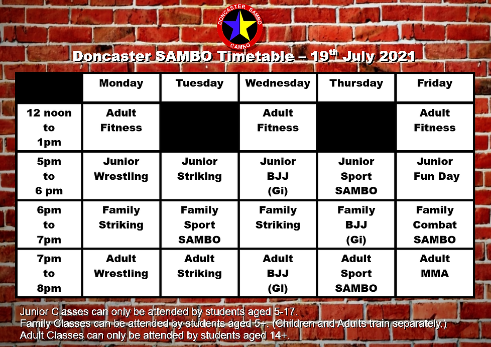 Doncaster Sambo Timetable 19th July 2021