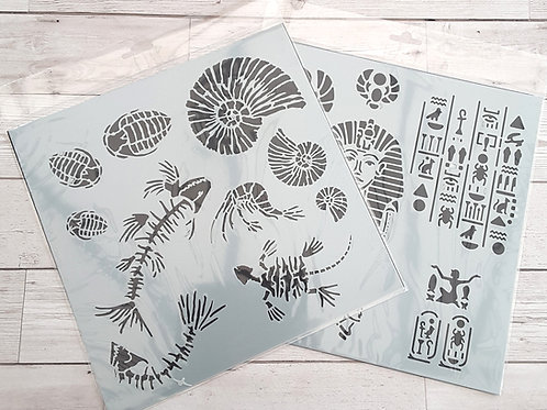30 x 30cm Stencils - Egypt & Fossils