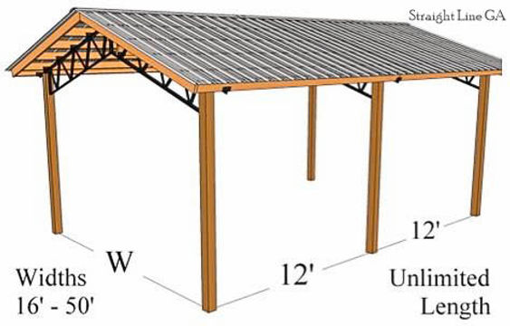 Pole barn with meal roof, metal truss