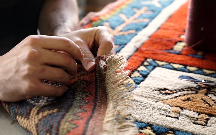 carpet repaid and sewing by hand