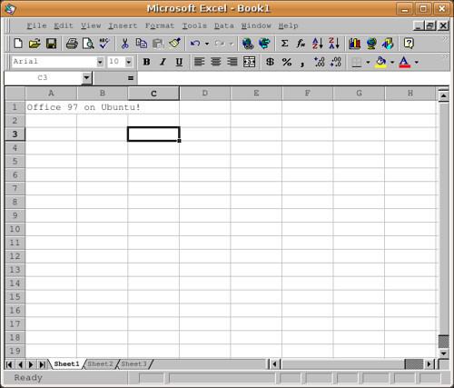 Microsoft Excel Office 97 spreadsheet