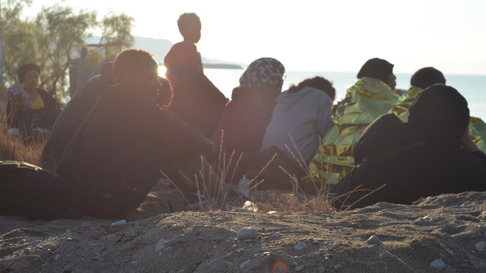 Refugees from Somalia and Iraq are detained by local police after arriving by boat on Chios, Greece. July 28, 2018. Photo by Celeste Huang-Menders