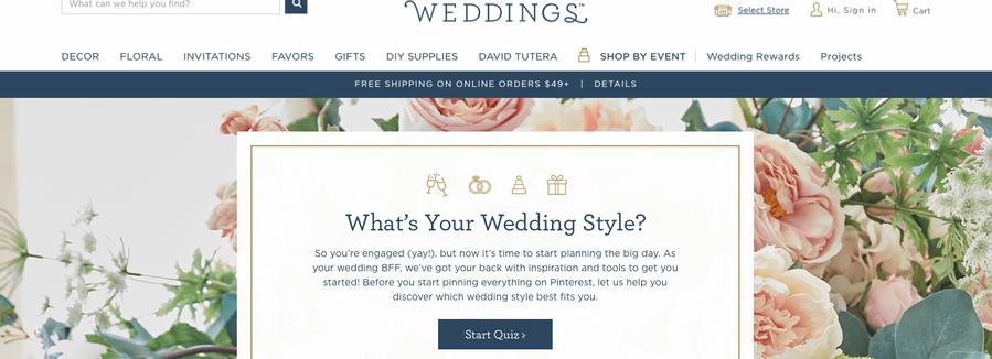 Wedding Quiz Main Page