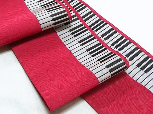 紗 四寸博多帯 ピアノ