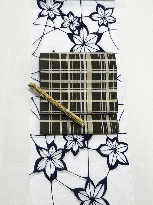 竺仙浴衣 綿絽白地 花