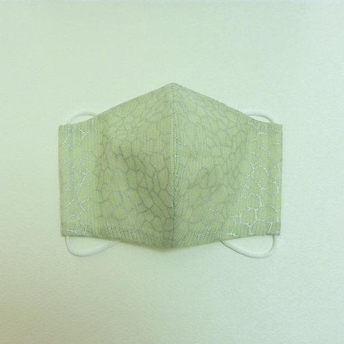 浴衣地マスク 綿絽箔小紋 浅緑