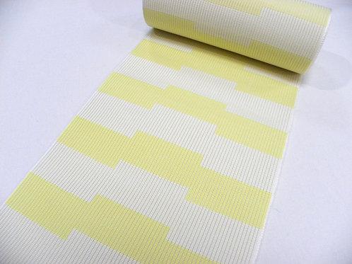 紗 四寸博多帯  風通  薄黄