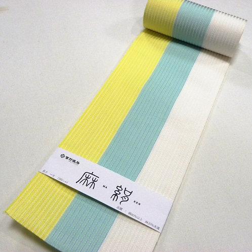 麻絹 博多四寸帯  三色ボーダー