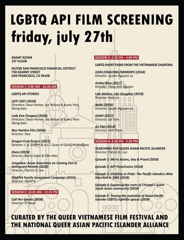 LGBTQ API Film Screening Schedule (Friday)