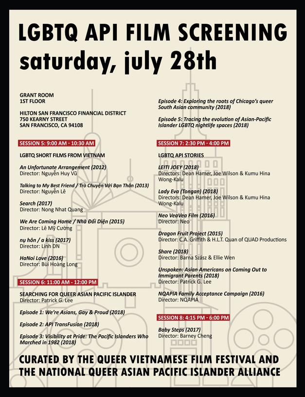 LGBTQ API Film Screening Schedule (Saturday)