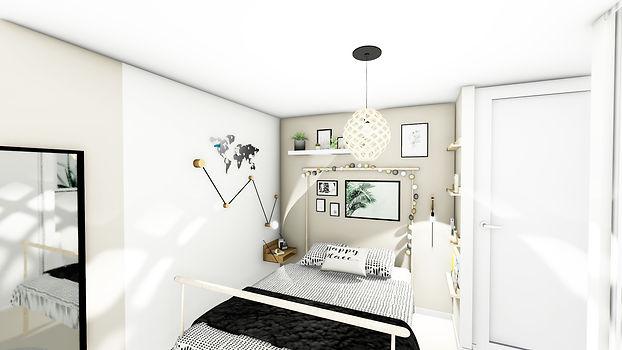 Aménagement, agencement et décoration d'une chambre pour ado ambiance naturelle, blanc,beige, par l'architecte décorateur d'intérieur Mosser Intérieur Design dans le Var