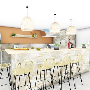 Aménagement agencement et décoration d'une cuisine d'été exterieur fermée naturel et exotique à Garéoult par votre architecte décorateur d'intérieur Mosser Intérieur Design dans le Var