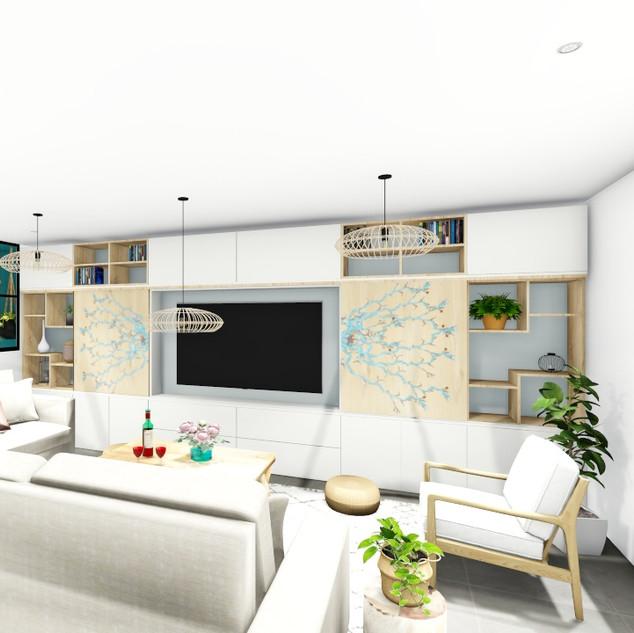 Aménagement agencement et décoration d'un salon, séjour, cuisine et entrée moderne et naturel à Garéoult par votre architecte decorateur d'intérieur Mosser Intérieur Design dans le Var
