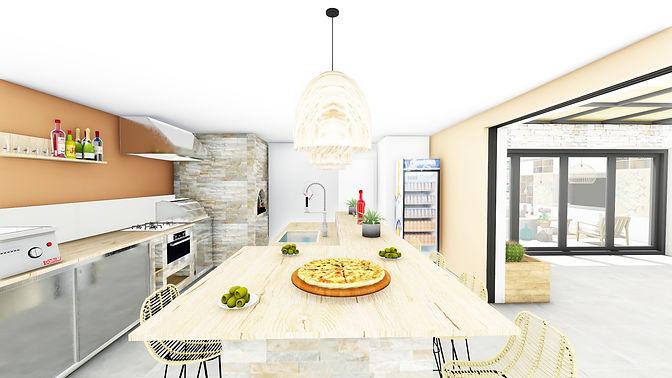 Aménagement agencement et décoration d'une cuisine d'été à Garéoult, par l'architecte décorateur d'intérieur Mosser Intérieur Design dans le Var