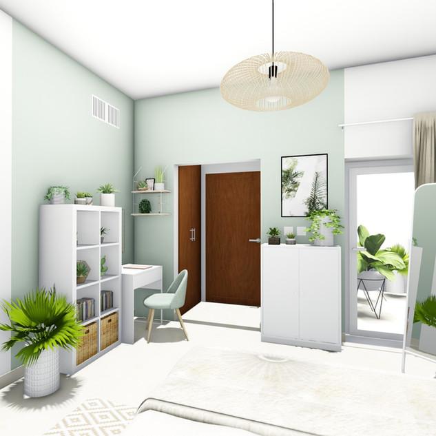 Aménagement et décoration d'une chambre naturelle à Abu Dhabi par votre architecte décorateur d'intérieur Mosser Intérieur Design dans le Var