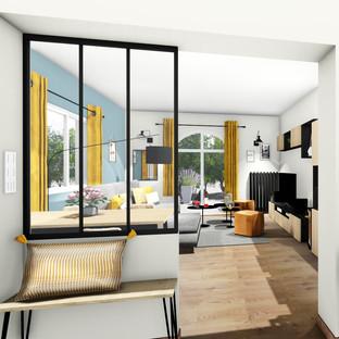 Aménagement agencement et décoration d'un salon et séjour industriel à Ollioules par votre architecte décorateur d'intérieur Mosser Intérieur Design dans le Var