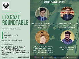 [PANEL DISCUSSION] Anatomy of a coup: The Rajasthan Political Crisis & Anti Defection Laws in India