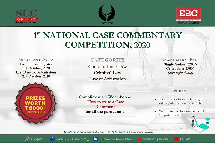 Lexgaze case commentary competition in partnership with SCC OnLine & EBC Learning