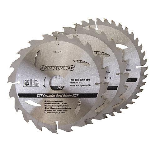 Silverline TCT Circular Saw Blades 20, 24, 40T 3pk