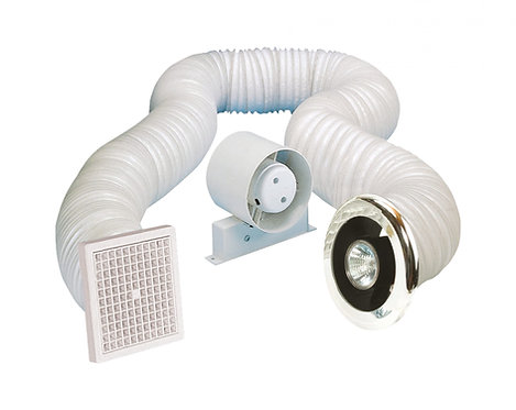 Airvent 100mm 4? shower fan with light & timer kit