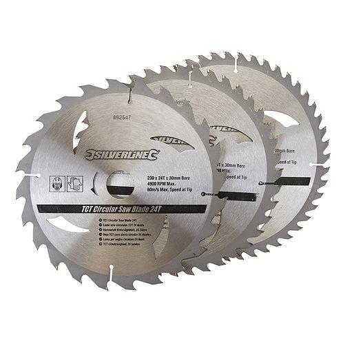 Silverline TCT Circular Saw Blades 24, 40, 48T 3pk